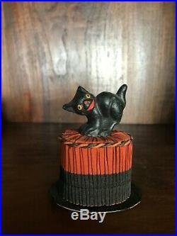 Antique Vintage Halloween Black Cat & Top Hat Paper Mache Candy Container RARE