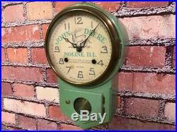 Antique Vtg New Haven John Deere Tractor Mini Farm Store Advertising Wall Clock