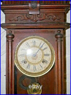 Antique Waterbury Halifax Oak wall clock 1893