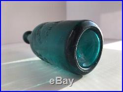 Antique Western Iron Pontil Lynde & Putman Soda Bottle In Brilliant Teal Blue