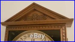 Antique Working Gilbert Oak Gallery Lobby Regulator Calendar Wall Clock c. 1900