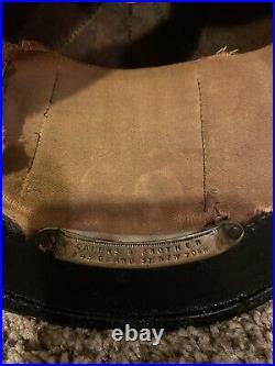 Antique leather fire helmet