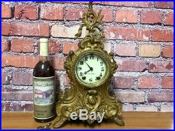 Beautiful-rare 1904 Seth Thomas Syria Set Gilt Metal Statue Mantle Chime Clock