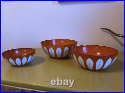 Cathrineholm Norway Vint Lotus Flower Orange/white 3 Piece Enamel Nesting Bowls