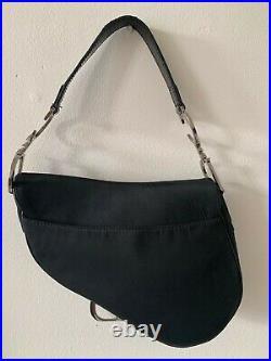 Christian Dior Black Saddle Bag Silver Hardware Collectible Vintage
