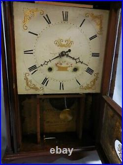 ELI TERRY Pillar & Scroll Mahogany MANTEL/SHELF CLOCK circa 1818-24