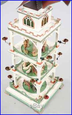 ERZGEBIRGE WEIHNACHTS PYRAMIDE Antique Christmas turning house 115 CM