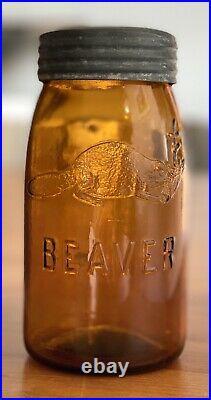 EXTREMELY RARE Old Antique Quart AMBER BEAVER Canning Fruit Sealer Jar CANADIAN