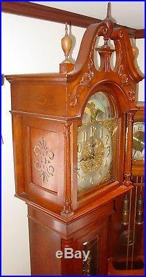 Finest antique Elliott W & H quartered oak tall case grandfather clock-15507