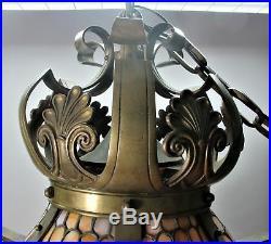 Gorgeous ANTIQUE WILLIAMSON 27 Bronze Leaded Glass Ceiling Shade c. 1910 lamp