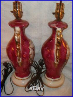 Gorgeous Antique Pair Victorian Ceramic Porcelain Floral Painted Table Lamps