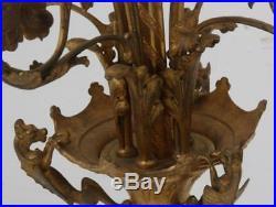 Gothic Gilt Bronze Floor Standing Candelabra, antique