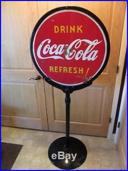 HUGE Vintage 1938 Porcelain Coca-Cola Stand Double Sided Sign Antique Coke 8384