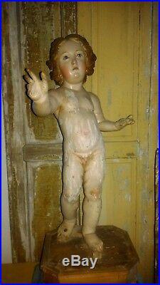 HUGE, antique 18th C. Wooden baby jesus, polychromed wood, glass eyes, Santos, 32 H