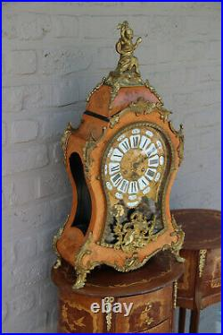 Huge French Boulle Cartel Mantel clock putti bronze wood inlaid