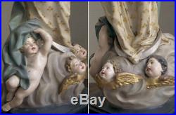 Immaculate Conception Virgin Mary 29.9 inch Angeles Crescent Santos Antique