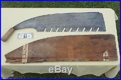 Japanese Huge Hand Tool Antique Big Signed Maebiki Nokogiri Crosscut Buck Saw