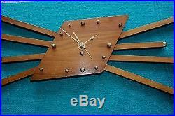 Junghans Mid Century Starburst Atomic Sunburst Eames Era Vintage Wall Clock Rare