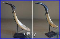 Large 1800 Native American NW Alaska Haida Feast Figural Horn Ladle