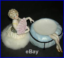 Lovely Antique Powder Box Three Pieces 2 Pc Base & Half Doll Puff Orig