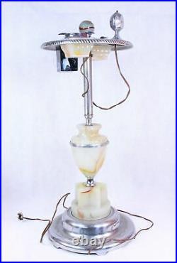 MICO Antique Ashtray Smoker Glass /Chrome Stand-Lighter