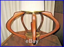 Mid Century modern Adrian Pearsall teak lamp by Modeline vintage original shade