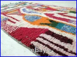 Moroccan Vintage Boujaad Handmade Rug 3'2x4'8 Berber Colorful Abstract Wool Rug
