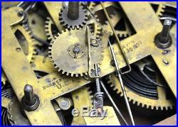 Original Antique 1870 American EN Welch Double Dial Lewis Calendar Mantle Clock