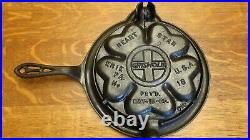 Original Antique Griswold Heart Star No. 18 Cast Iron Waffle Iron With Low Base