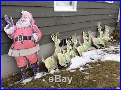 Outdoor Display Santa Claus and reindeer! Late 1950s Vintage Antique Display