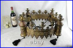 RARE Antique 1900 Monastery Church candle Holder gothic Chandelier religious n2