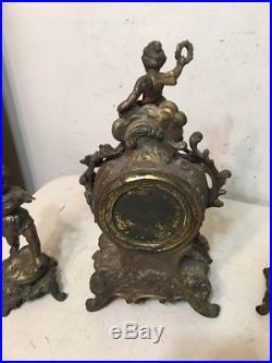 Rare Antique Ansonia Fancy French Style Mantle Clock Cherub & Garnitures Set
