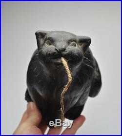 Rare Antique German Paper Mache Halloween Black Cat String Holder