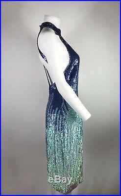 Rare Vtg Gianni Versace Collection Blue Ombre Sequin Dress sz 40 S