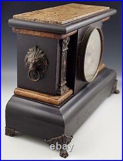 SETH THOMAS ORNATE MANTLE CLOCK 1880's ADAMANTINE LION'S HEADS WithKEY ANTIQUE