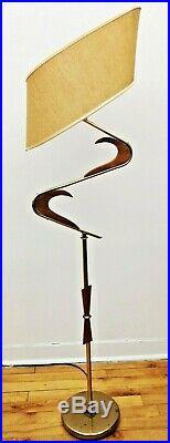 SUPERB Vtg 1950s Retro ATOMIC Mcm Z Majestic style Floor LAMP Fiberglass SHADE