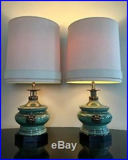 Stiffel by Edwin Cole Chinoiserie Ceramic & Brass Dragon Table Lamps Pair