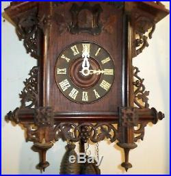Stunning Rare Antique German Black Forest Gk Bahnhausle Railroad Cuckoo Clock