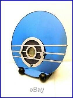 Vintage 1936 Old Walter Teague Sparton Blue Bird Blue Mirror Art Deco Radio