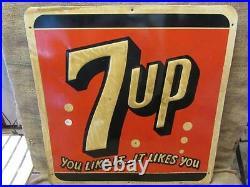 Vintage 1955 Embossed Metal 7up Sign Stout Antique Old Soda Pop Cola 9645