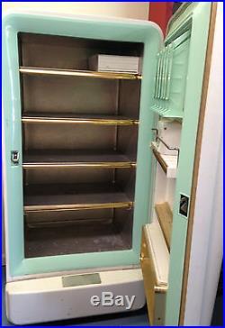 Vintage Antique 50s Amana Stor Mor Refrigerator Freezer Turquoise Mid Century