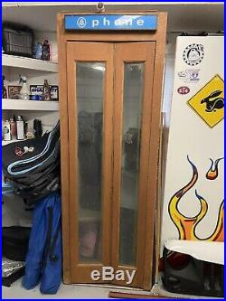 Vintage Antique Wood & Glass Door Phone Booth with Phone & Fan Bell Telephone