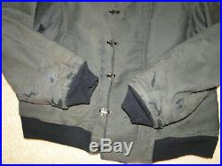 Vintage RARE WWII US NAVY Stencil Deck Hook Dark Blue Color Jacket 40s Sz 46