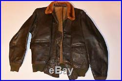 Vintage Usn Goatskin Leather G1 Military Flight Jacket! Mouton Fur Collar! G-1 S