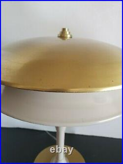Vtg Mid Century Modern Flying Saucer Atomic Metal Table Lamp