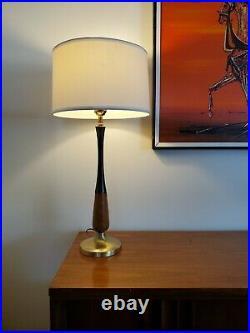 Vtg Mid Century Modern Teak wood & Brass Table Lamp 29