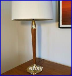 Vtg Mid Century Modern wood & Brass Atomic Rocket Table Lamp 27