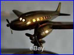 Vtg Rarelly Seen Art Deco Airplane Plane DC3 Bronze Smoking Ashtray 1940 W Light