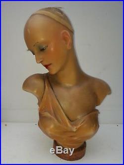 Wow. Antique, WAX bust, art-deco mannequin, flapper girl, WAX head, glass eyes